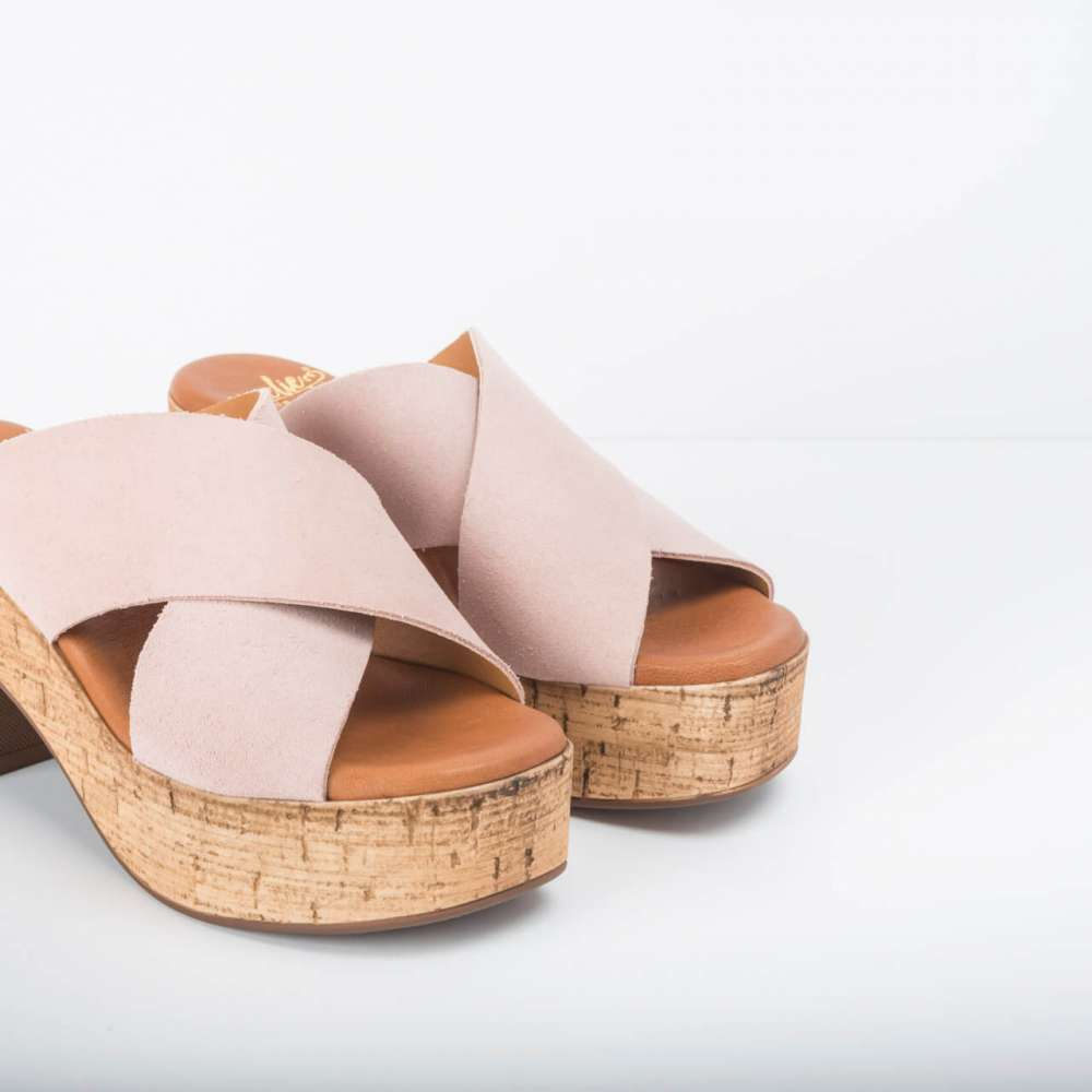 Cuña Ante Tiras Anchas Cruzadas Rosa- Nueva Colección