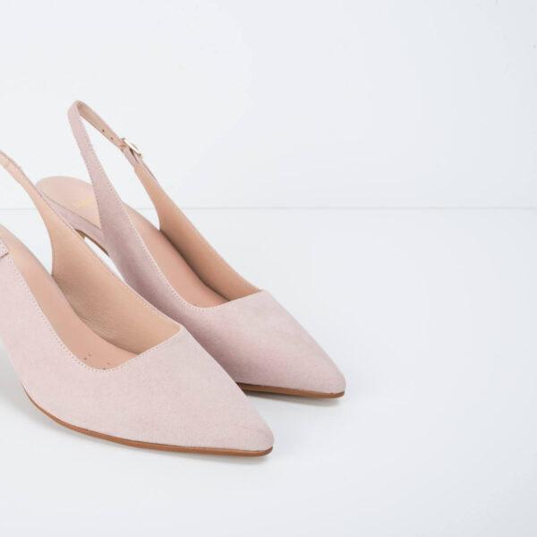 Zapato Ante Salón Rosa Palo