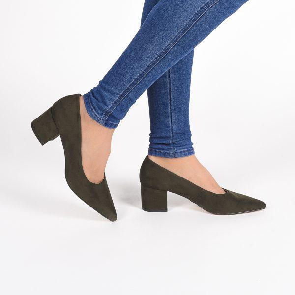 Zapato Salón Ante Verde/ Camel