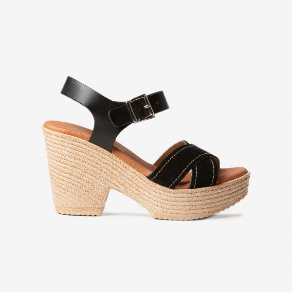 Sandalia Tiras Cruzadas Ante Negro- Nueva Colección