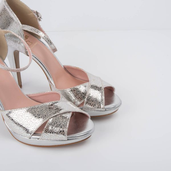 Silver Crossed Strap Party Sandal