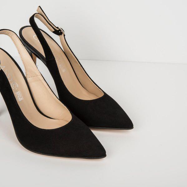 Zapato Salón Destalonado Serraje Negro