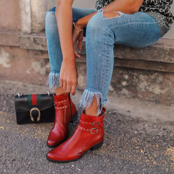 Red Leather Ankle Boot